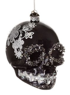 Sugar Skull Glitter Ornament in Black at PLASTICLAND