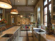 love the sinks, stoves, brick, interesting floor, ceiling, #kitchen