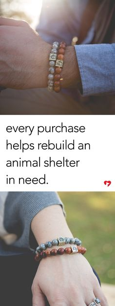Animal shelters are often woefully underfunded, under-resourced, understaffed. The dogs are scared and often crammed into tiny cages. Adopters perceive them as aggressive, and adoptions don't happen as often as they should. Help us in our mission to rebuild our first shelter, making it more friendly to adopters. Each purchase of these symbolic wood & stone bracelets represent the part you played by supporting this cause! Click below to learn more.