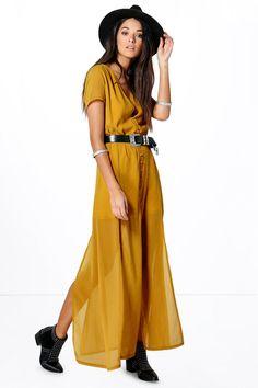 Natalya Chiffon Button Through Sliced Maxi Dress at boohoo.com
