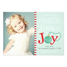 Modern Peace Love & Joy Christmas Photo Custom Announcements | Visit the Zazzle Site for More: http://www.zazzle.com/?rf=238228028496470081 [Referral Link]