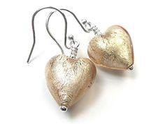 Murano Glass Heart Earrings - Champagne Heart Earrings, Drop Earrings, Murano Glass, Gold Foil, Pale Pink, Sterling Silver Earrings, Champagne, White Gold, Heart Pendants