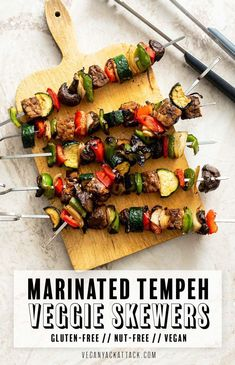 Marinated Tempeh Veggie Skewers – Vegan Yack Attack (I made it without lime and it was great! Vegan Appetizers, Vegan Dinner Recipes, Whole Food Recipes, Vegetarian Recipes, Raw Recipes, Vegan Recipes Summer, Tempeh Recipes Vegan, Beef Recipes, Vegan Blogs