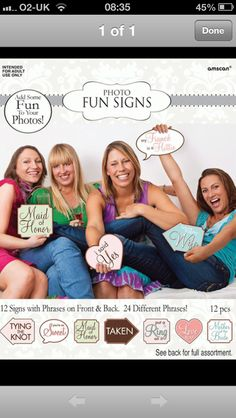 Bridal Shower or Hens Night Photo Booth Fun Signs Bridal Shower Photos, Bridal Shower Signs, Bridal Shower Party, Bridal Showers, Party Wedding, Wedding Ideas, Fun Signs, Party Signs, Wedding Photo Props