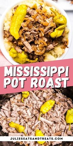 Crock Pot Dinner recipes are so easy and delicious. This Mississippi Pot Roast is cooked in your slow cooker. Simply season a chuck roast, place it in your crock pot with pepperoncinis and beef broth on low. The result is a tender, fall apart roast to serve over mashed potatoes. Perfect for busy nights! #mississippi #potroast
