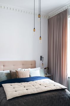 super Ideas for bedroom hotel style dark Gray Bedroom, Trendy Bedroom, Home Bedroom, Bedroom Decor, Bedroom Retreat, Pink Curtains, Custom Curtains, Velvet Curtains Bedroom, Brown Curtains