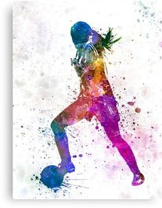 'Girl playing soccer football player silhouette' Photographic Print by paulrommer - Parede de futebol - Soccer Room, Soccer Art, Soccer Games, Play Soccer, Soccer Drills, Funny Soccer, Soccer Poster, Art Football