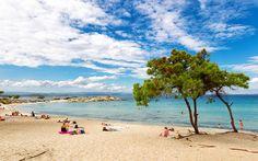 Οι γαλάζιες παραλίες στη Βουρβουρού Χαλκιδικής Little Island, Lush, Beach Mat, Golf Courses, Outdoor Blanket, Coast, Country, Water, Places