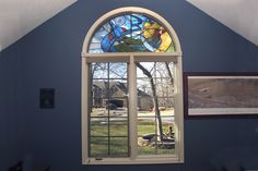 Custom Stained Glass Windows - Painted Light Stained Glass Stained Glass Studio, Stained Glass Window Film, Custom Stained Glass, Arched Windows, Glass Film, Mid Century, Painting, Image, Decor