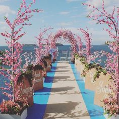 85 Beautiful Cherry Blossom Wedding Themed Decoration Ideas You Will Totally Love Wedding Aisles, Wedding Walkway, Romantic Wedding Receptions, Wedding Entrance, Wedding Altars, Garden Wedding, Wedding Bouquets, Wedding Chuppah, Cherry Blossom Party