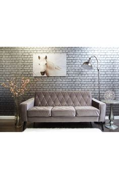 Bowery Petite Grey Velvet Sofa on @HauteLook