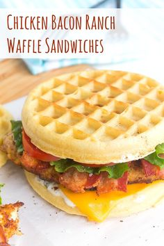 These Chicken Bacon Ranch Waffle Sandwiches are the perfect breakfast/lunch/dinner mash-up with tender, ranch breaded chicken, crispy bacon, and melty cheese. Top with fresh lettuce and tomato, plus a dreamy, creamy ranch mayo for a sandwich that is out of this world!