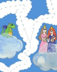 Trying my hand at blending cover art elements for Cloud Road, The Lonely Dragon, and The Two Princesses.