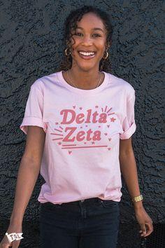 Delta Zeta Lovely Tee – The Social Life Delta Zeta Shirts, Kappa Delta, Sorority Shirts, Tee Shirts, Tees, Alpha Omicron Pi, Alpha Chi Omega, T Shirts For Women, Unisex