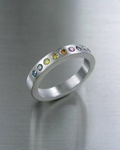 316L Steel and Fancy Diamonds. Design Petri Pulliainen. #PetriPulliainen #fancydiamonds #stainlesssteelring #weddingrings #värikkäättimanttit #rainbowring #sateenkaarisormus #vihkisormus Petra, Diamond Rings, Wedding Rings, Rainbow, Fancy, Engagement Rings, Steel, Design, Jewelry