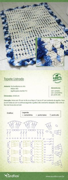 TRICO, CROCHE E TEAR RECEITAS FACEIS: TAPETE DE BARBANTE
