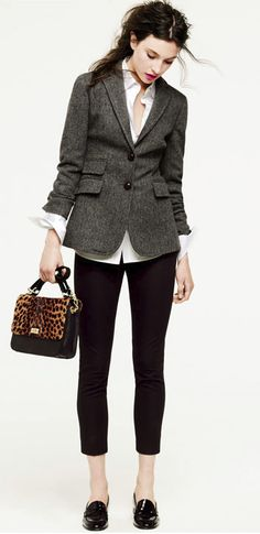 Jacket, pencil pants, crisp white shirt and loafers with chic bag.