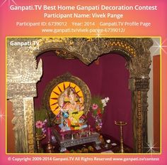 Vivek Pange Home Ganpati 2014 Decoration Pictures, Decorating With Pictures, Ganpati Picture, Ganpati Festival, Festival Decorations, Ganesh, Picture Video, Rocks, Tv