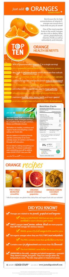 Just Add Oranges! Great Info about Orange Health Benefits, Nutrition Info, Interesting Facts & Recipes! Orange Health Benefits, Fruit Benefits, Health And Nutrition, Health And Wellness, Health Fitness, Health Diet, Brain Nutrition, Easy Fitness, Fit Bodies