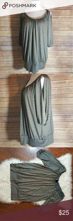 TORRID Studded Cold Shoulder 3/4 Sleeve Top TORRID Grey / greenish Studded Cold Shoulder 3/4 Sleeve Top with banded bottom hem thats so flattering!  Size 2X torrid Tops