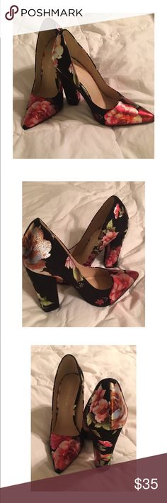 NIB -Black Suede Floral Pointed Toe Pumps - NIB - floral print pump - excellent condition - never worn - shoe box included Lulu's Shoes Heels