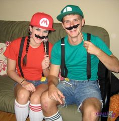 DIY Mario and Luigi Halloween Costume - cheap and easy couples costume