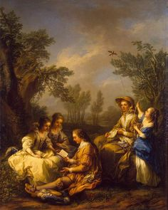 Reading (1754). Carle van Loo (French, 1705-1765). Oil on canvas. The State Hermitage Museum. In this idealized bucolic setting, a young beau reads aloud to two young women, who appear entirely enraptured by what he reads. Their governess suspends her needlework in order to listen also. The pleasure given to her by the book perhaps is mixed with fear of the dangerous impression that that book might make on young girls' hearts.