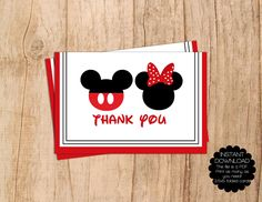 INSTANT DOWNLOAD . Mickey and Minnie Mouse Modern Thank Card . Blank Thank You . 3.5x5 Folded Card . PDF File . Print Yourself . by MoonshyneDesigns on Etsy https://www.etsy.com/listing/226999508/instant-download-mickey-and-minnie-mouse