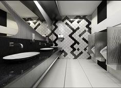 Public Bathroom for Menlyn Mall  #Mens #Bathroom #Urinal #tiles #design #interiordesign #3dvisualization #black #white