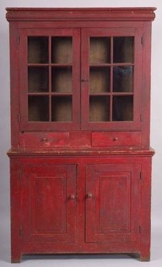 Painted glazed top - part poplar cupboard ~ Mid 19th century