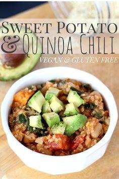 Vegan Quinoa Sweet Potato Chili on theyoopergirl.com
