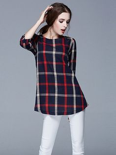 Red Middle Sleeve Round Neck Casual Shirt$29.00.Click for more.
