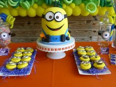 Check out this cake at a Minions Birthday Party! See more party ideas at CatchMyParty.com! #partyideas #minion