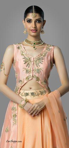 Blush & Peach Long Jacket Lehenga by Shilpa Reddy Studio