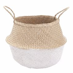 Olli Ella Dipped Belly Basket - White: This lovely natural Belly Basket is a favourite, it's handwoven, collapsible, stylish and functional, the perfect storage basket. This seagrass basket has been dipped in water-based paint, giving the bottom half a soft White finish.