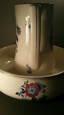 HUGE~Breathtaking ANTIQUE ENGLISH Wash Basin Pitcher & Bowl Set~Numbered