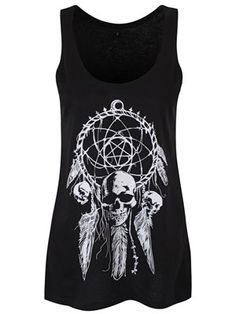 Fill your dreams with Gothic goodness thanks to this exclusive Unorthodox ladies black floaty vest! Featuring a macabre dream catcher decorated with skulls and chains, it is the ultimate addition to your alternative look.