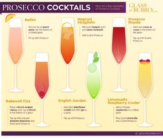 Champagne Drinks, Prosecco Cocktails, Cocktail Drinks, Cocktail Recipes, Cocktail List, Sangria, Party Drinks, Fun Drinks, Alcoholic Drinks