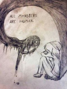 Sinematic - all monsters are humans dark drawings, demon drawings, creepy drawings, cool Demon Drawings, Creepy Drawings, Cool Drawings, Drawing Sketches, Pencil Drawings, Drawing Ideas, Quote Drawings, Artwork Drawings, Simple Drawings