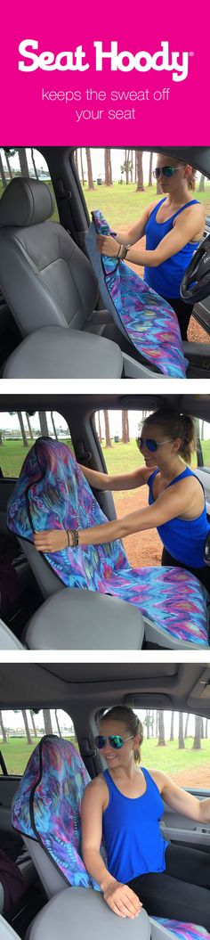Machine washable, non-slip back, fits all cars :) Perfect for after sweaty workouts! www.seathoody.com