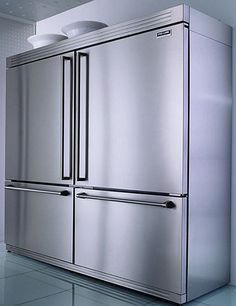 The mammoth 64 inch all-refrigerator all-freezer combo from Electrolux ICON Professional Series will do the job. Consider it as side-by-side refrigerator Read Big Refrigerator, Big Fridge, Large Fridge, Kitchen Items, Kitchen And Bath, Kitchen Storage, Kitchen Decor, Kitchen Design, Luxury Kitchens