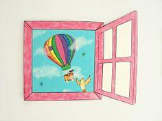 Original painting. Custom Painting acrylics on wood. Hot Air Balloon Nursery Decor.