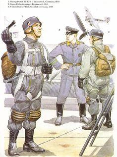 1: Soldado de primera clase, 2do Batallón, 1er Regimiento Paracaidista; Brunswick, Alemania, 1939 2: Cazador, 1er Regimiento Paracaidista, 1941 3: Suboficial, 1er Regimiento Paracaidista; Stendal, Alemania, 1939