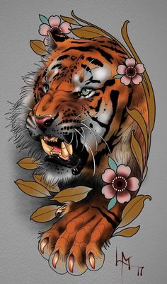 Original ideas of Japanese tattoo designs, wonderful ideas of colorful tattoos with Japanese motifs, tattoo tiger flowers old school frases hombres hombres brazo ideas impresionantes japoneses pequeños tattoo Japanese Tiger Tattoo, Japanese Tattoo Designs, Japanese Sleeve Tattoos, Tiger Tattoo Design, Sketch Tattoo Design, Tattoo Sketches, Bild Tattoos, Body Art Tattoos, Small Tattoos