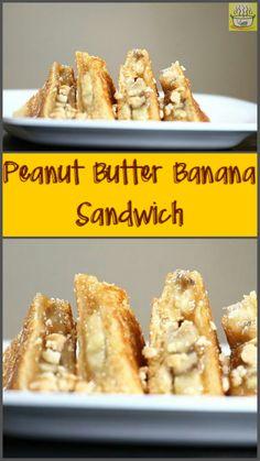 Sandwich with peanut butter & banana. #sandwich, #peanut butter, #banana, #Lunchbox, #dessert, #vegetarian