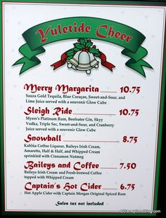 Disney holiday drinks at Disney's Hollywood Studios...