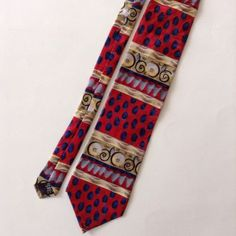 J Garcia Red Blue Tan Abstract Mens Neck Tie 100% Silk Collector's Edition