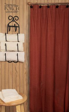 The Country Porch features the Williamsburg Wine Shower Curtain from The American Country Porch collection. Primitive Bathrooms, Bathroom Curtains, Washroom, Wine, Shower, Porch, Colonial, Hooks, Country