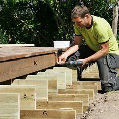 Slik bygger du terrasse med trapp - viivilla.no Wood, Patio, Woodwind Instrument, Timber Wood, Trees