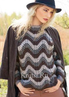 Пуловер с зубчатым узором